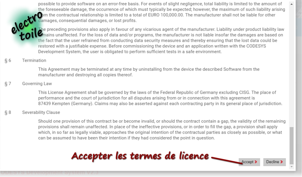 Accepter les accords de licence Codesys v2.3