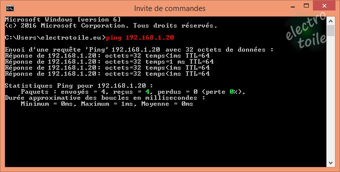 Ping communication correcte