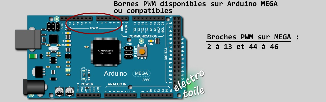 Broches PWM disponibles sur l'arduino MEGA