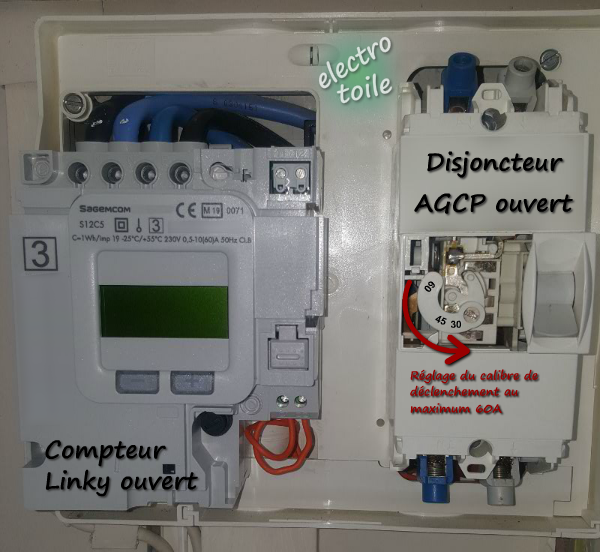 Branchement du compteur Linky et modification du calibre de l'AGCP