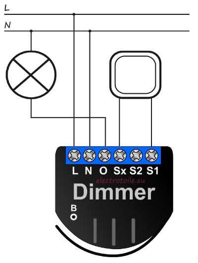 raccordement d'un dimmer FGD211 Fibaro avec Neutre avec un interrupteur simple