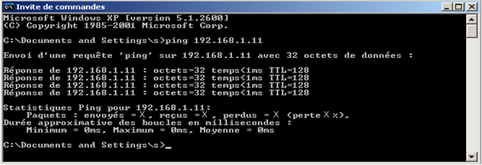 MS-DOS, Command prompt to test communication with another station using the ping command'aide de la commande ping