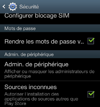 applications de sources inconnues